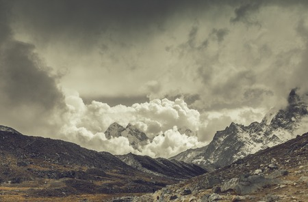 Mountain landscape with dramatic sky