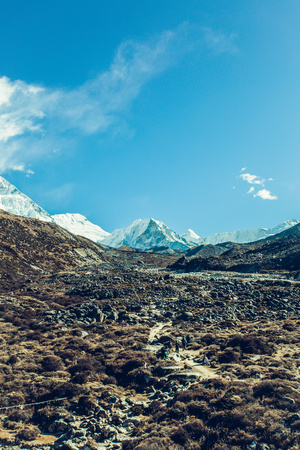 Mountain landscape with beautiful nature. Himalaya mountain view, Sagarmatha national park, Nepal. Stock Photo - 91968735