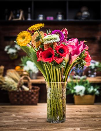 Spring flower bouquet arrangement from floristic shop Stock Photo