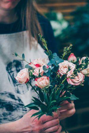 Florist arrangement beautiful bouquet for flowers delivery Stock Photo