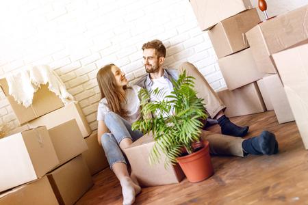 Loving couple enjoying new home Stock Photo