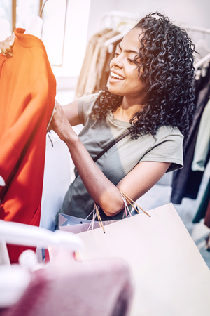 Casual woman excited with shopping