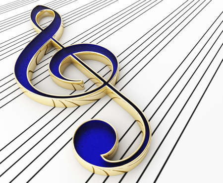treble clef: Note treble clef. 3d render Stock Photo