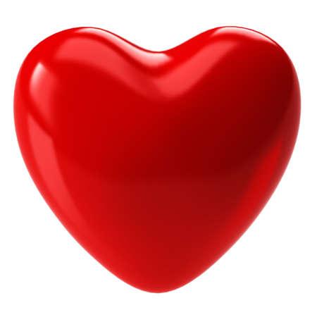 cuore: Isolato l'immagine di un cuore su uno sfondo bianco. Rendering 3D Archivio Fotografico