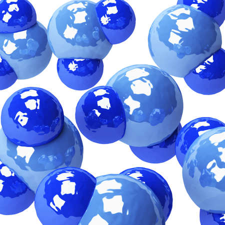 Water molecules are isolated on a white background. 3D render photo