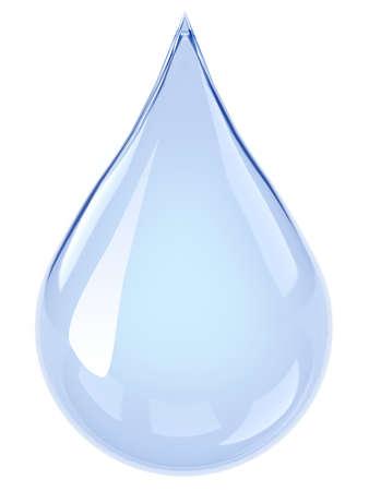 水ドロップします。白い背景上に分離。3 d のレンダリング