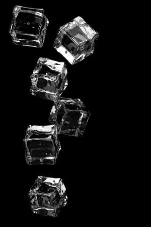 Falling ice cubes on black background.3D render.
