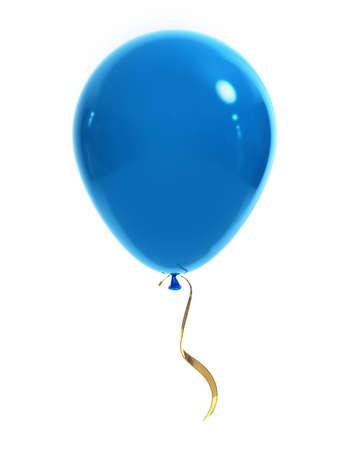 Blauen Ballon mit einem gold Band auf einem weißen Hintergrund. 3D-Darstellung.