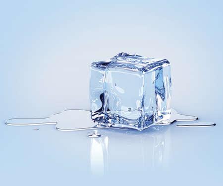 Dissimuler cube de glace avec de l'eau tombe sur un fond clair. 3d render Banque d'images - 44463340