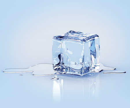 Verbergen ijsblokje met water druppels op een lichte achtergrond. 3d render