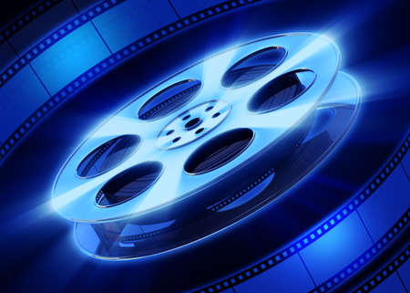 cinematographer: Film and film reel on a blue background. 3D render. Stock Photo