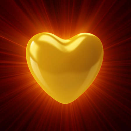 roundish: Shining golden heart on a dark background. 3D render Stock Photo