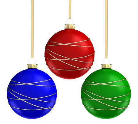 red and blue: Christmas balls set. Isolated on white background. 3D render