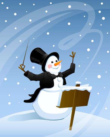 クリスマスにフロック コートとシルクハットの吹雪で雪だるまを行っています  イラスト・ベクター素材