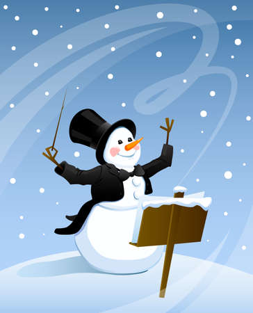 Snowman conducts in a frock coat and top hat snowstorm on Christmas