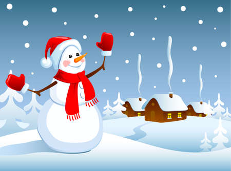snow house: Winter Christmas landscape with a snowman. Vector illustration