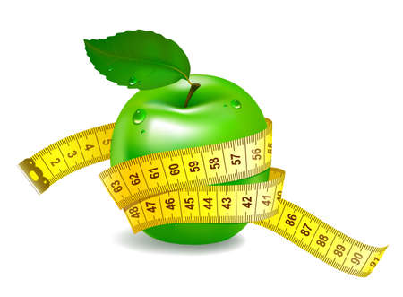 metro medir: manzana verde con cinta métrica. El símbolo de una alimentación sana Vectores