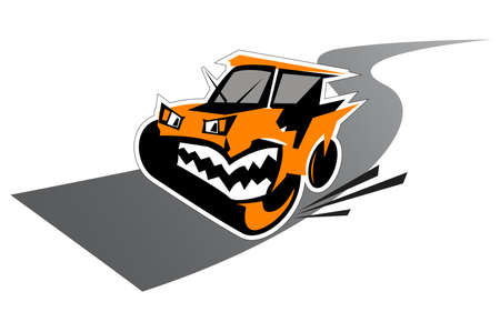 growling: Waggish Road Paver. Cartoon character suitable for signs and symbols