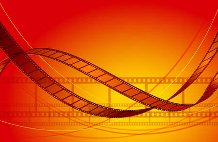 negatives: Abstract film background. Film winding tape on a red background