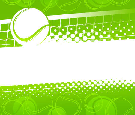 Tennis ball on a green background. Vector illustration Stock Illustratie