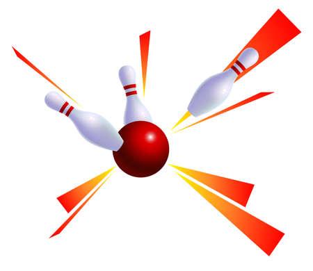 skittles: Bowling ball knocks down skittles. Sign, emblem Illustration