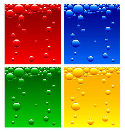 aerated: Air bubbles in the liquid of different colors Illustration