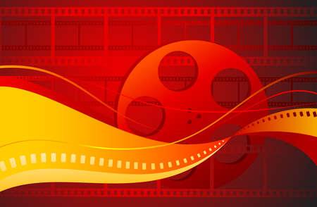 映画の背景。フィルムとフィルムのリールの抽象的な背景