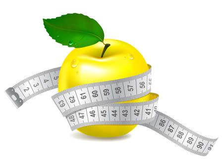 cinta de medir: Manzana amarilla con cinta métrica. ilustración vectorial