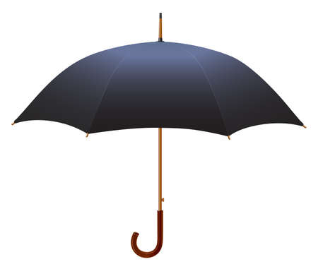 moody: Black Umbrella from the rain. Isolated on white background