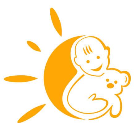 sign  childhood: The emblem logo sign symbol of the happy childhood