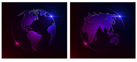 glowing earth: Glowing Earth on a dark background. Western and Eastern hemispheres. Vector illustration