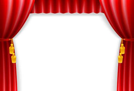 ビンテージ白地に赤いカーテン  イラスト・ベクター素材