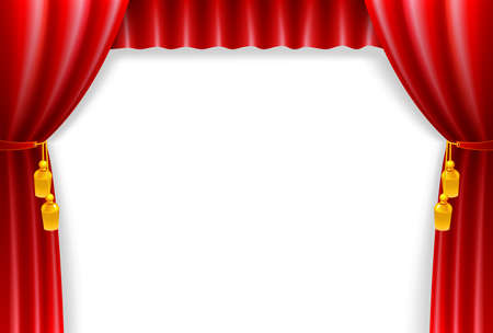 theater curtain: Red curtain on the white vintage background