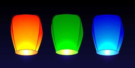 flashlights: Set of colored air flashlights. Vector illustration Illustration