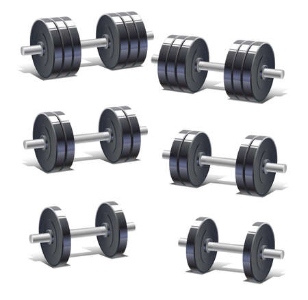 weight training: Set of different weight dumbbells for fitness and weight training Illustration