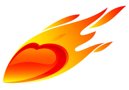 red love heart with flames: The symbol of the heart in the fire on a white background