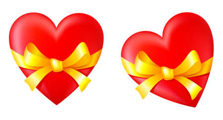 tied up: Gift in Valentines Day. Heart tied up by a bow
