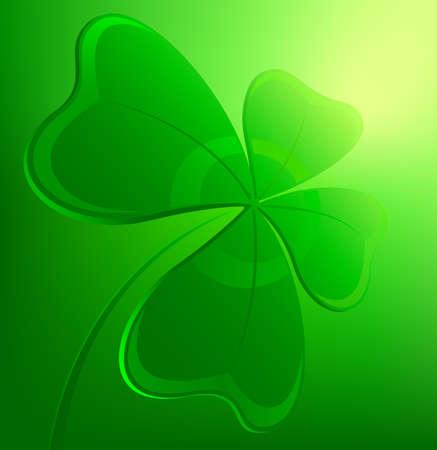 four fourleaf: Leaf clover on a green background. Vector illustration