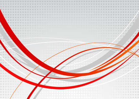 gray dot: Abstract background. Red wavy lines on a gray dot background Illustration