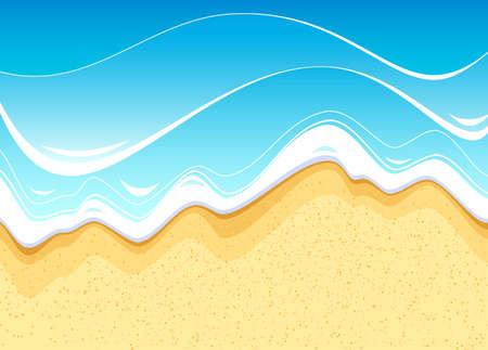 海のビーチ。海の水で洗って海岸  イラスト・ベクター素材