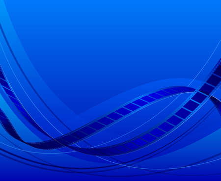 bends: Blue Abstract background of film. Bends the film on a blue background