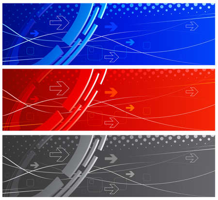 computer banner: Set abstract technology background in different color schemes
