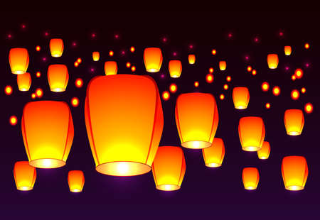 burning paper: Air lanterns in the sky. Illustration