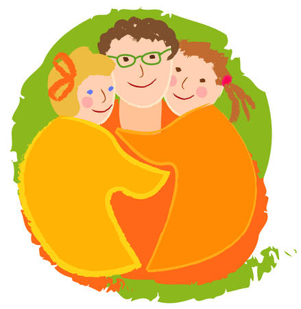 Happy family, dad with daughters. The image is made in the style of childrens drawings