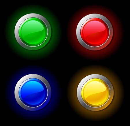 are shone: Set of shone colour buttons. Vector illustration