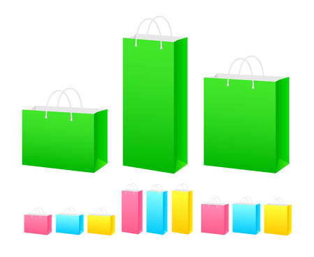 paper bags: set of colored paper bags of different shapes and sizes Illustration