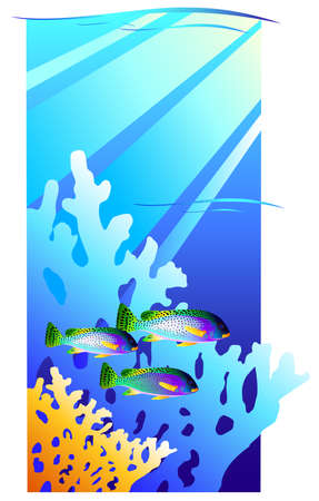 coral reef underwater: Coral reef. Underwater with fishes. Vector illustration Illustration