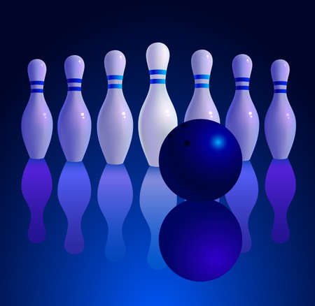 rolling pin: Bowling ball rolling on the track. Vector illustration