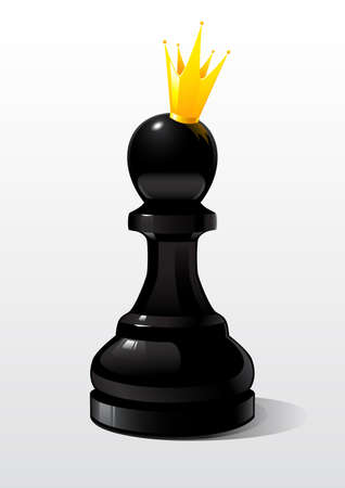 recreational pursuit: Symbol, metaphor. Chess figure a pawn in the image of the Queen Illustration