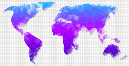 graphically: Vector polygon map of the world. Vector illustration